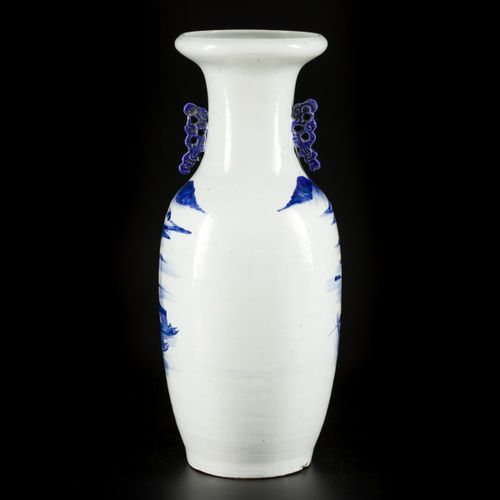 A porcelain baluster vase with landscape decoration, China, late 19th century. D…