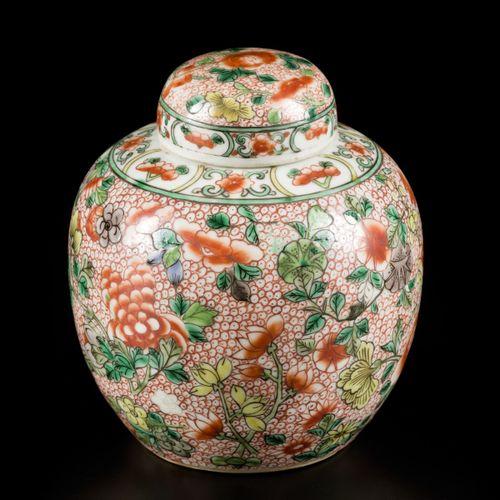 A porcelain famille verte ginger jar, marked Lingzhi, China, 19th/20th century. …