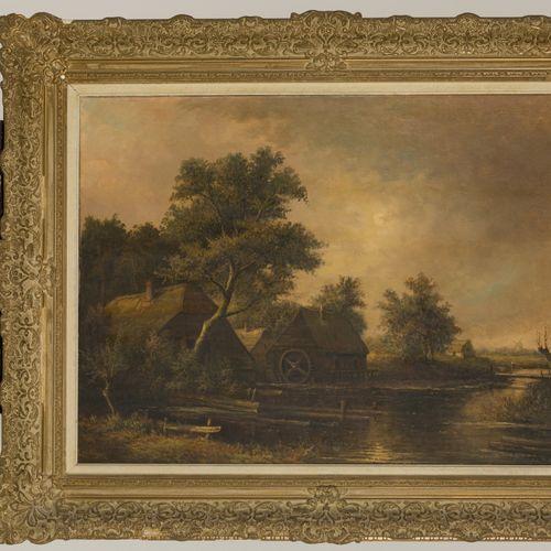 Jur. M. Beek (Arnhem 1879 1965 Den Haag), A watermill along a river. 签名(右下),布面油画…