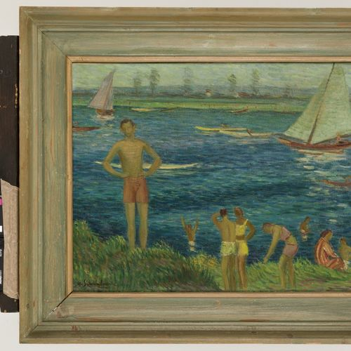 Henri Schoonbrood (Maastricht 1898 1972), Swimmers on the waterfront. 签名(左下角),布面…