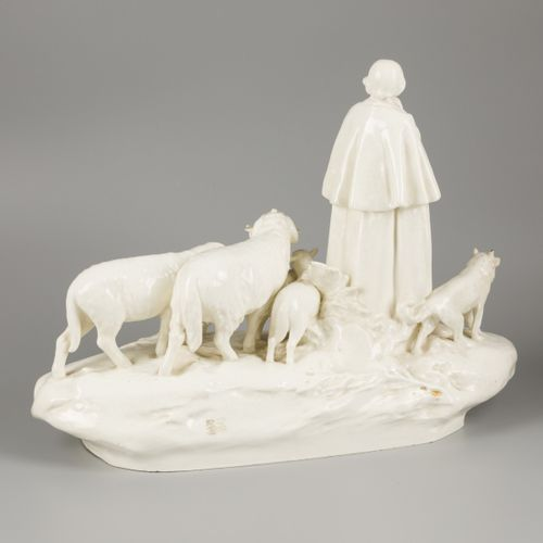 A pale white earthenware sculptural group, shepherd with flock of sheep, H. Schu…