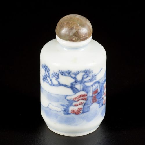 A porcelain underglaze red snuff bottle with various figures in a landscape, Chi…