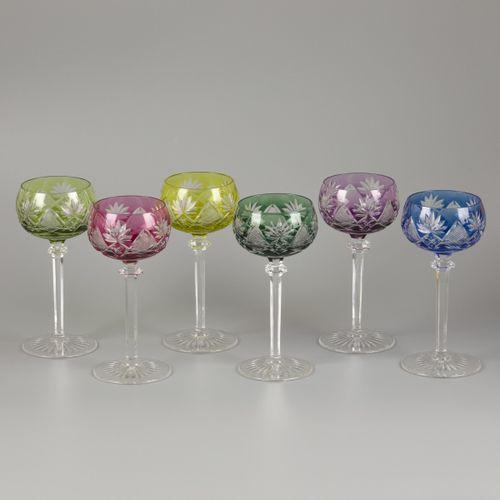 A set of (6) coloured crystal Val Saint Lambert wine roemers, Belgium, 1st half …