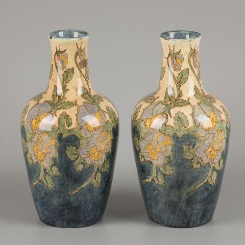 J.W. Mijnlieff (Jutphaas 1862 1940 Scheveningen), a set of vases with polychrome…