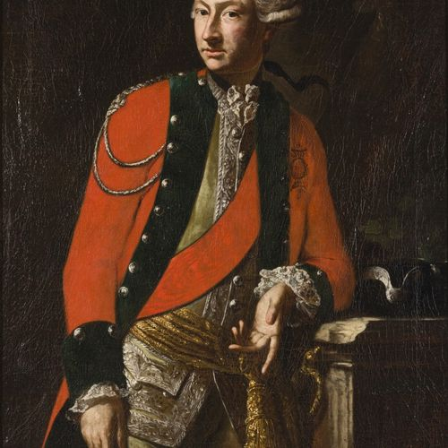 German School, 18th C. Portrait of an officer three quarters length in red frac …