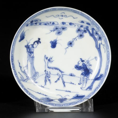 A lot of (3) porcelain plates, two with decorations of deer, one with Long Eliza…