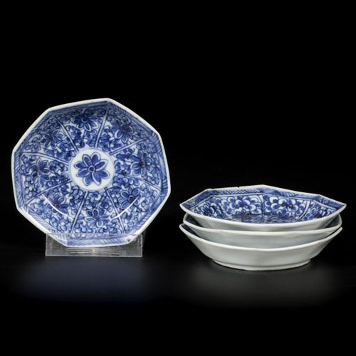 A set of (4) porcelain angled plates with floral decoration, China, 18th century…