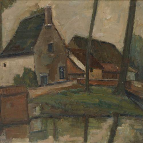 Belgian School, ca. 1930. Houses on the waterfront. 隐约可见的签名(左下),布面油画。Dim.52 x 63…