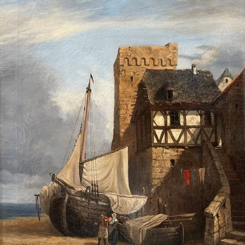 School of Brittany, A fishing smack outside the city walls. Huile sur toile, non…