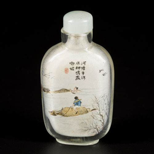 A glass snuff bottle decorated with an oss and figures, poem and master's mark, …