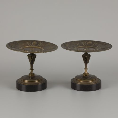 A couple of cast bronze tazza's with portraits of a Roman Imperial family in med…