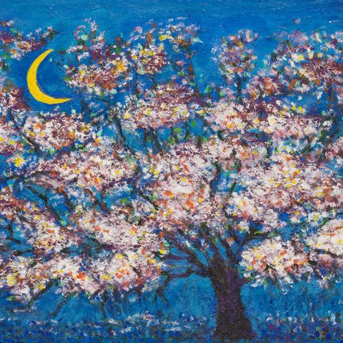 Bitia Rosendor (Jeruzalem ? 2013 Brussel), A blossoming tree under a moonlit sky…