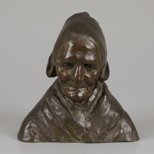 """""""Charles"""" Henri Marie van Wijk (Den Haag 1875 1917), bronze bust """"Krijntje"""". 签名为…"""