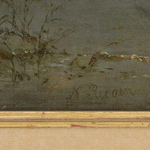 Nicolaas Riegen (Amsterdam 1827 1889), Eal fischers. Signé (en bas à gauche, hui…