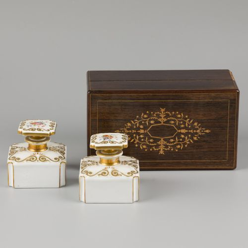 A fruitwood veneered tea caddy, the interior with porcelain flasks, France, 19th…