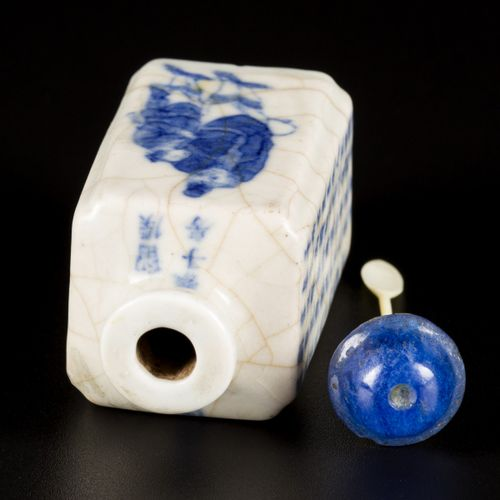 A softpaste snuff bottle with Wu Shuang Pu decor, China, 19th century. H. 6 cm. …