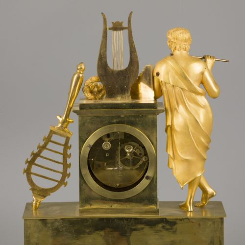 A large fire gilt bronze Charles X mantle clock with Orpheus and his lyre, Frank…
