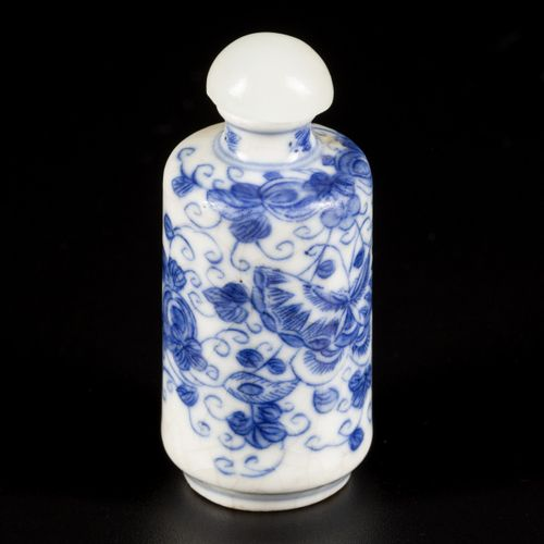 A softpaste snuff bottle decorated with butterflies and flowers, China, 19th cen…