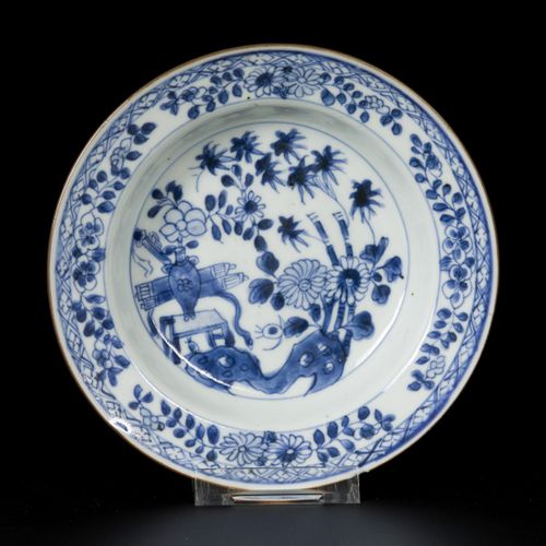 A lot comprised of (3) porcelain plates with floral decoration, China, 18th cent…