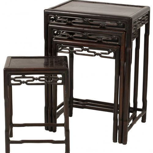 A rosewood set of nesting tables, comprising (4) matching side tables, China, la…