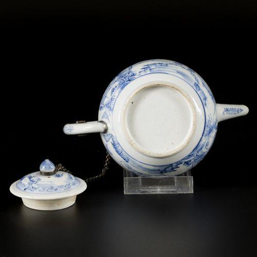 A porcelain teapot with landscape decor, China, 18th century. Dim. 13 x 17 cm. R…
