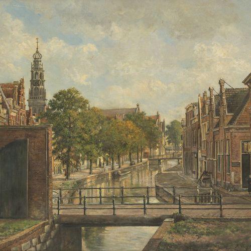 Jaap Wigersma (Noord 1877 1957 Haarlem). View in the Bakenesser canal, Haarlem, …