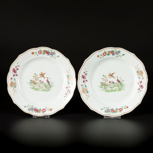 A set of (6) porcelain plates with polychrome decoration including herons, China…