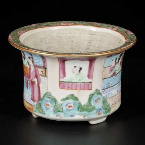 """A porcelain flowerpot with Canton decor of """"The Romance of the Western Chamber"""",…"""