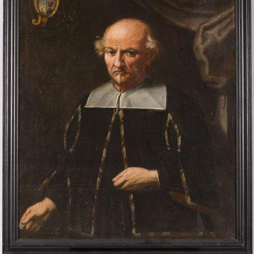 """German School, 18th Century, Portrait of Paulus Nesius. 有家族徽章,并刻有 """"Paulus Nesius…"""