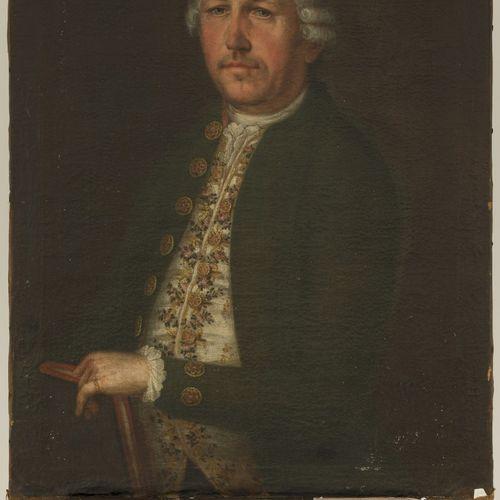 German School, 18th C. Portrait of a gentleman in a brocade vest. Non signé et n…