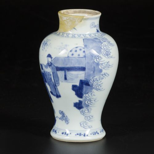 A porcelain canister decorated with various figures, marked Lingzhi, China, Kang…