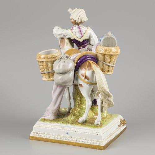 """A porcelain group of a milkmaid and mule. """"La Laitierre d'Après Greuze"""", marked:…"""
