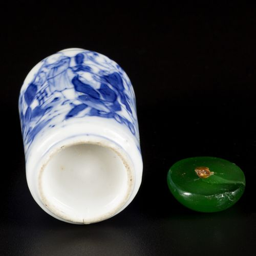 A porcelain snuff bottle decorated with the 8 immortals, China, 19th century. H.…
