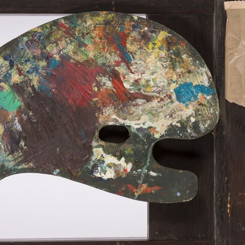 A painter's palette with painting of a Dutch winter landscape with skaters on th…