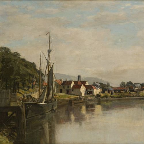 David Young Cameron (Glasgow 1865 1945 Perth)(attributed to) A moored vessel nea…