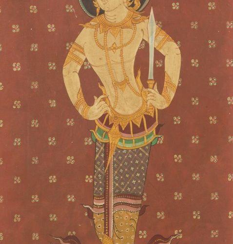 School of Laos, 20th. C. Portrait of a Royal. 画布上的钢笔画,尺寸。97 x 40 cm.估计:30 50欧元。