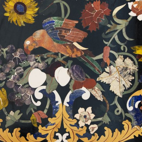 A rectangular Italian pietra dura table top with birds between blossom branches,…