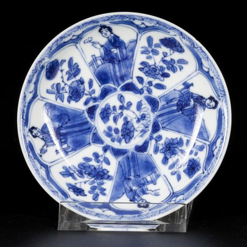 A lot comprising (4) porcelain plates, three with Long Eliza decoration, one wit…