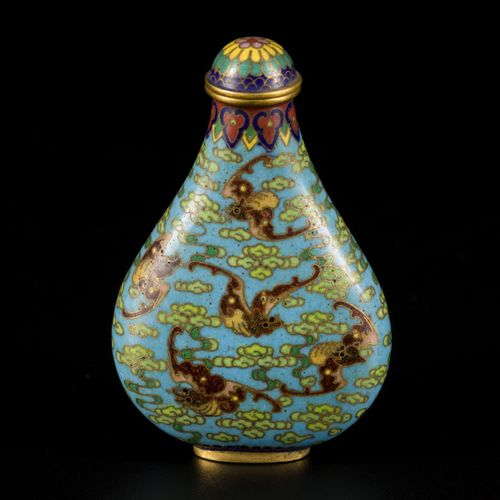 A cloisonne snuff bottle decorated with bats and clouds, marked Qinglong, China,…