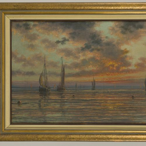 Karel Johan Baerwaldt (Belgian 1862 1922) Incoming fishing pinks at dusk Le Sole…