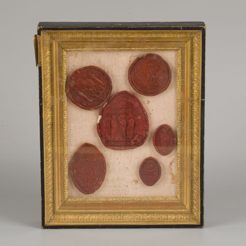 A set of (6) various laquer wax seals in Empire style frame, France, 19th centur…