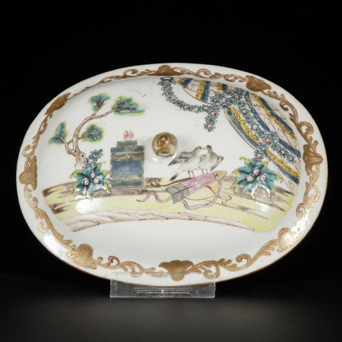 A porcelain charger with famille rose decor, a lid with the same decor has been …