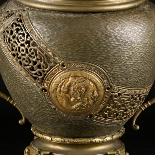 A bronze koro decorated with dragons in a medallion, Japan, late 19th century. D…