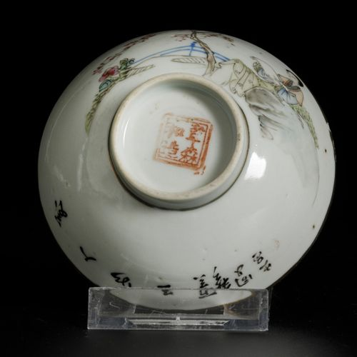 A lot of (2) porcelain Qiangjiang Cai bowls with figures in a garden, China, 19t…