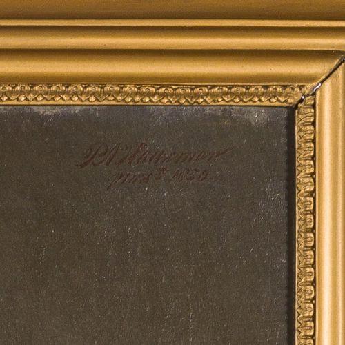 "P.A. Haaxman (Delft 1814 1887), Portrait of a lady with a golden broche. 签名和日期 ""…"