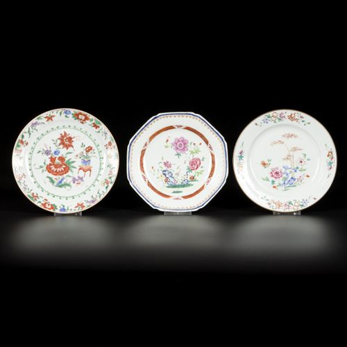 A lot of (3) porcelain famille rose plates with floral decoration, China, 18th c…