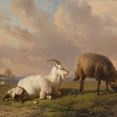 """L.M.D.R. """"Louis"""" Robbe (Kortrijk 1806 1887 Brussels), A goat, and sheep with lam…"""