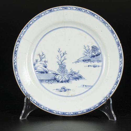 A set of (5) porcelain plates with a landscape scene, China, Qianglong. Diam. 22…