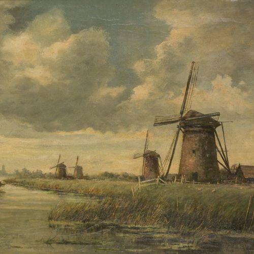"Jur. M. Beek (Arnhem 1879 1965 Den Haag), Windmills in a polder landscape. (""Mol…"