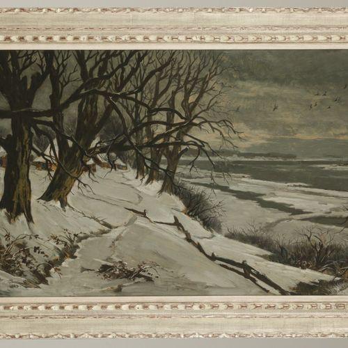 Theo Goedvrind (1979 1969), A river landscape in winter. Signé (en bas à gauche)…